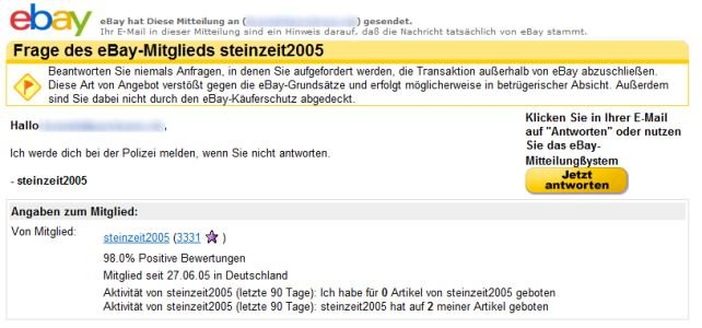 eBay-Phishing: Drohung mit Polizei über Fake-Nachricht