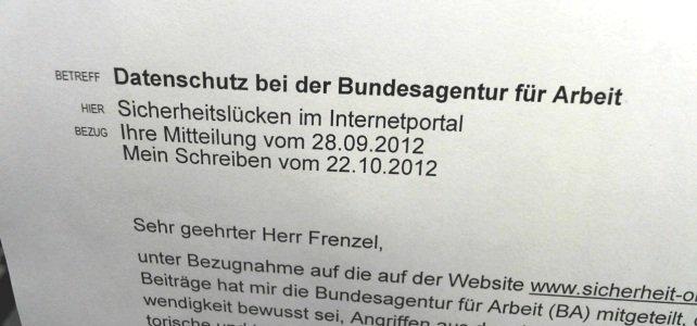 Bundesagentur für Arbeit belügt BfDI zu Sicherheitslücken und Angriffen